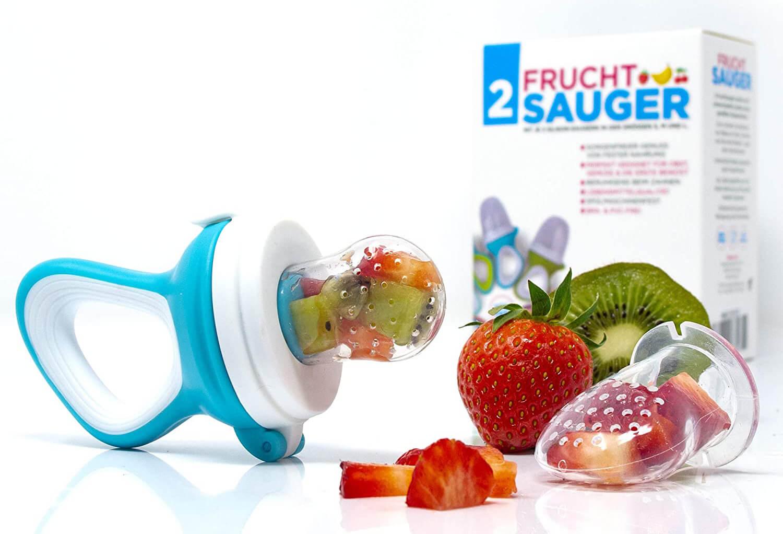 Die Fruchtsauger von iFancy werden in drei Größen (jeweils 2 Sauger) geliefert, sodass für alle Altersstufen von 3 bis 24 Monaten die passende Größe dabei ist (Foto: Amazon).